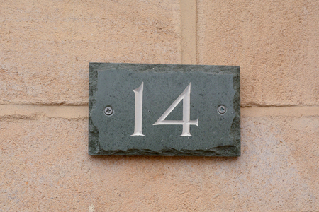 House number 14 sign