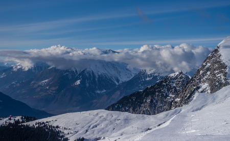 meran: Shot of the alps in winter Stock Photo