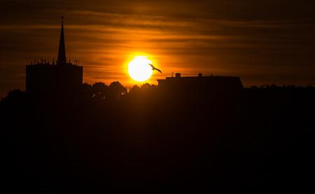 reeperbahn: Shot of a sunset at the port of Hamburg