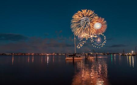 Kieler Woche Fireworks Фото со стока