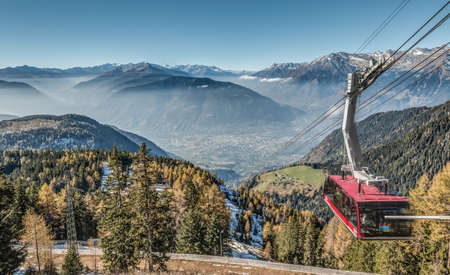 ropeway: HDR shot of Merano with ropeway in Autumn Stock Photo