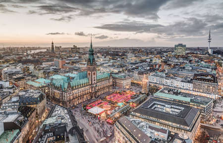 Top view HDR shot of Hamburg townhall with christmas market