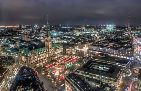 townhall: Top view HDR shot of Hamburg townhall with christmas market