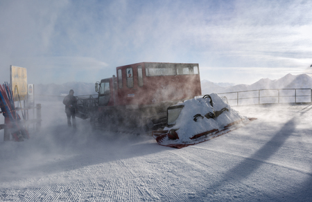 groomer: Snow Groomer in windy conditions