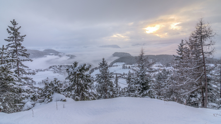 deep powder snow: Sunset in the snowy Alps HDR