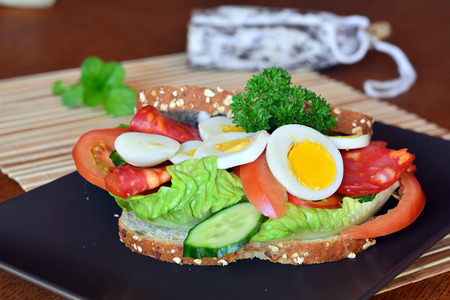healthy snack: Fresh and tasty sandwich with salami and vegetables on a brown plate on a table.