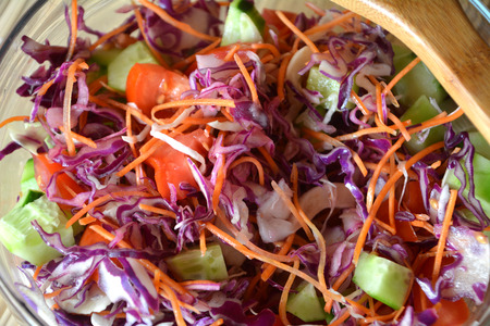 red cabbage: Healthy vegetable salad with red red cabbage, cucumber,tomatoes on a glass bowl