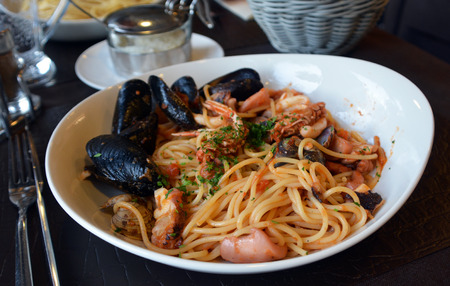 mussel: Spaghetti with mussel and seafood