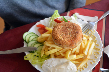 french fries plate: Breaded cheese with french fries and vegetables on a plate