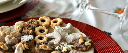 . Dessert of cookies plate perfect for celebrating Christmas.