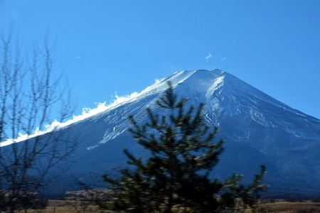 cloud capped: Mount Fuji in the morning. Japan.