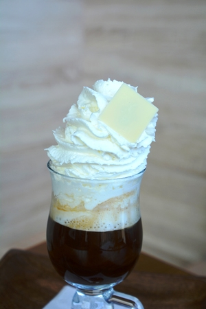 Delicious Hot Viennese Coffee On Glass Cup With Whipped Cream.