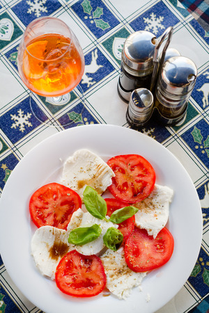 appetiser: An appetiser of cheese and tomatoes on a white plate