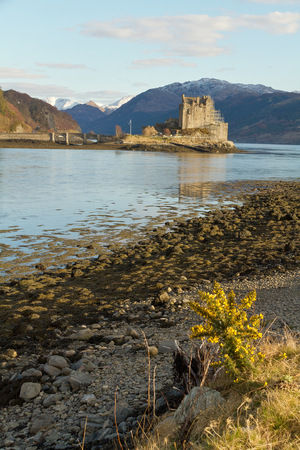 beautyful: Kyle of Lochalsh Scotland  circa March 2013: A view of Eilean Donan Castle and the surrounded landscape on a sunny day with limitled clouds