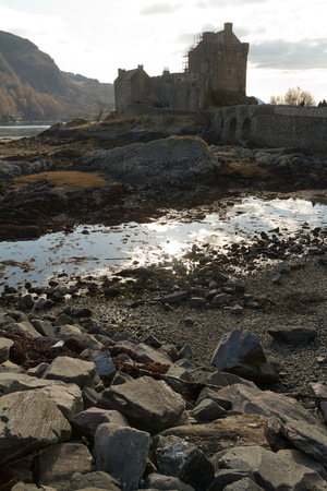 footbridges: Kyle of Lochalsh Scotland  circa March 2013: A view of Eilean Donan Castle on a sunny day with limitled clouds