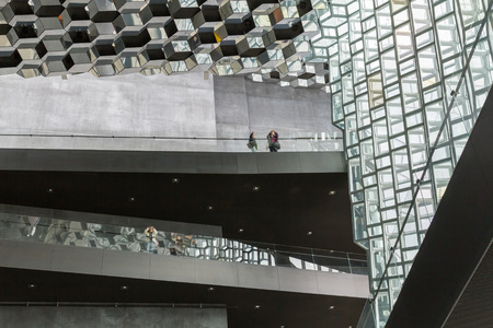 concert hall: Reykjavik, Iceland, May 2014: An interior view of the Harpa Concert Hall and Conference Centre