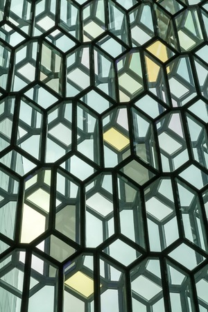 grandiose: An interior view of the glass facade of the Harpa Concert Hall and Conference Centre Editorial