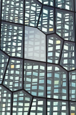 concert hall: An exterior view of the glass facade of the Harpa Concert Hall and Conference Centre Editorial