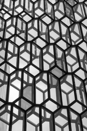 concert hall: Reykjavik, Iceland, May 2014: An exterior view of the Harpa Concert Hall and Conference Centre