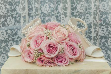 Eine Farbige Makro-Foto Eines Detaillierten Bouquet Mit Rosa Rosen ...
