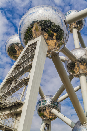 constructed: Brussels, Belgium - August 2013: The Atomium during the day. The Atomium is a building in Brussels originally constructed for Expo 58, the 1958 Brussels Worlds Fair Editorial