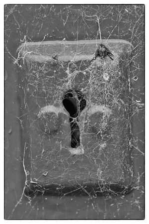 cobwebs: Cobwebs on a blue metail key hole of a blue wooden door. Black and white photo with a vintage border
