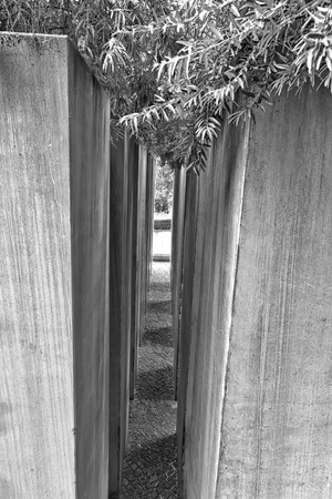 exile: July 2015 - The Jewish Museum Berlin, Berlin, Germany: The Garden of Exile and Emigration.The 49th column, filled with earth from Jerusalem, stands for Berlin. The whole garden is on a 12° gradient and disorients visitors. Editorial