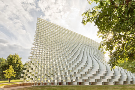 July 2016 - London, England : The Serpentine Gallery Pavilion, designed by Danish architects BIG (Bjarke Ingels Group) at Hyde Park on 28 July 2016 in London, United Kingdom Editorial