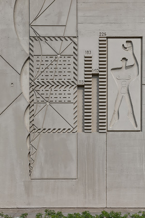 rationalism: BERLIN, GERMANY - JULY 2014: The Modular Man on a side wall of Corbusier Haus was designed by Le Corbusier in 1957 following his concept of Unite dHabitation (Housing Unit)