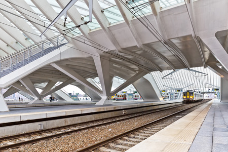 LIEGE, BELGIUM - December 2014: The Liege-Guillemins railway station. This station is made of steel, glass and white concrete designed by Spanish architect Santiago Calatrava