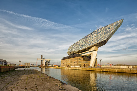 Antwerp, Belgium - October 2016: The new Port House in Antwerp repurposes, renovates into a new headaquarters for the port, creates by Zaha Hadid, her last project