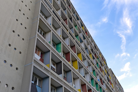 unite: BERLIN, GERMANY - JULY 2014: The Corbusier Haus was designed by Le Corbusier in 1957 following his concept of Unite dHabitation (Housing Unit)