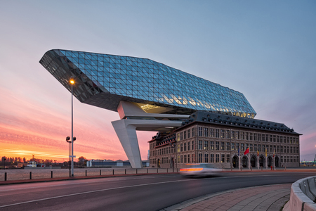 architectural firm: Antwerp, Belgium - October 2016: The new Port House in Antwerp repurposes, renovates into a new headaquarters for the port, creates by Zaha Hadid, her last project