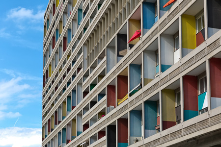 proportions of man: BERLIN, GERMANY - JULY 2014: The Corbusier Haus was designed by Le Corbusier in 1957 following his concept of Unite dHabitation (Housing Unit)