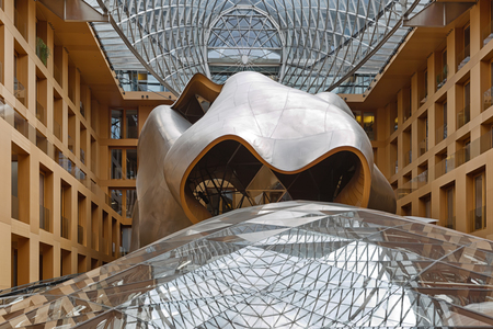 BERLIN, GERMANY - JULY 2015: Atrium of the DZ Bank building in Berlin. Pariser Platz 3, Mitte, central Berlin. It is an office, conference, and residential building, designed by architect Frank Gehry, completed in 2000 Editorial