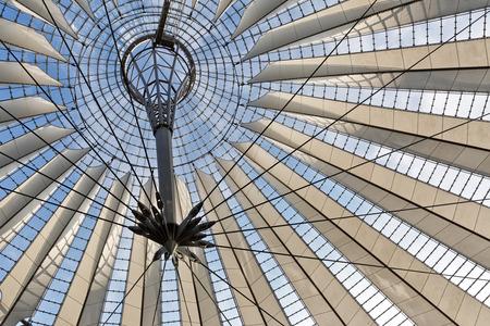 u bahn: BERLIN, GERMANY - JULY 2015: Glass ceiling of Sony Center on July 26, 2014, in Potsdamer Platz in Berlin Mitte