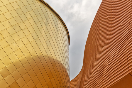 MILAN, ITALY - September 2015: Architectural detail of United Arab Emirates pavilion at World Expo, universal exposition on the theme of Feeding the Planet Energy for Life. Pavilion designed by Fosters and Partners