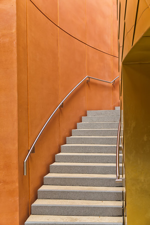 life partners: MILAN, ITALY - September 2015: Staircase of United Arab Emirates pavilion at World Expo, universal exposition on the theme of Feeding the Planet Energy for Life. Pavilion designed by Fosters and Partners