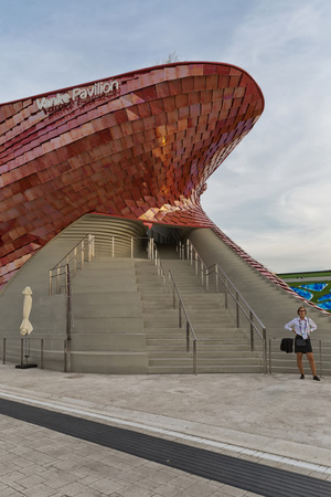 MILAN, ITALY - September 2015: : Architectural view of Vanke Pavilion at World Expo 2015 in Milan, realized with red ceramic. Pavilion designed by Daniel Libeskind Studio Editorial
