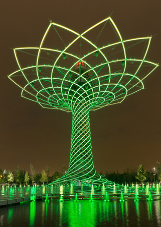 MILAN, ITALY - September 2015: View of The tree of life during water-play show. The tree of life is the symbol of Expo 2015 universal exposition on the theme of Feeding the Planet, Energy for Life.