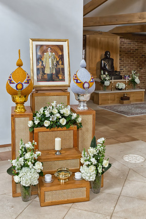Hemel Hempstead, England - November 2016: Inside the Temple of Amaravati Buddhist Monastery. The monastery is inspired by the Thai Forest Tradition and the teachings of the late Ajahn Chah, a Thai monk, a Thai monk and renowned Dhamma teacher. Editorial