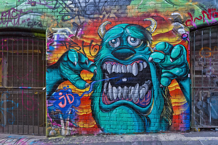 Melbourne, Australia - February 2015: Street art by unidentified artist. Melbournes graffiti management plan recognises the importance of street art in a vibrant urban culture