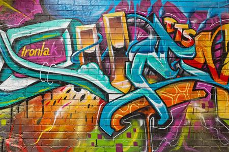 Melbourne, Australia - luty 2015: Street art autorstwa niezidentyfikowanego artysty. Plan zarządzania graffiti w Melbourne uznaje znaczenie sztuki ulicznej w tętniącej życiem kulturze miejskiej Publikacyjne