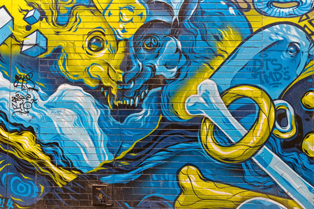 back alley: Melbourne, Australia - February 2015: Colorful graffiti in Corft Lane, Colorful graffiti detail in back alley of downtown.