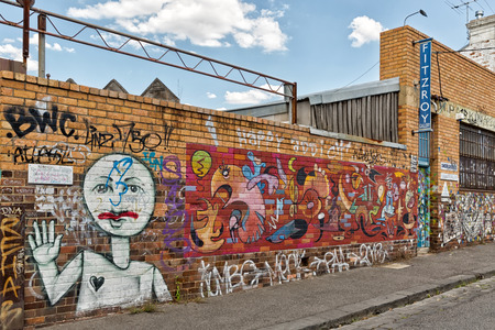 Melbourne, Australia - February 2015: Street art by an unknown artist in the inner suburb of Fitzroy, in the vicinity of Brunswick Street, site of the best street art outside the city centre.