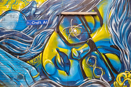 Melbourne, Australia - February 2015: Street art by unidentified artist. Melbourne's graffiti management plan recognises the importance of street art in a vibrant urban culture 에디토리얼