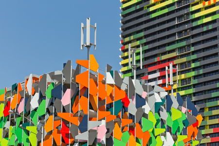 Melbourne, Australia - February 2015: Pixel Building designed by Studio505 and Barak Building designed by ARM Architecture, two very colourful facades in Carlton