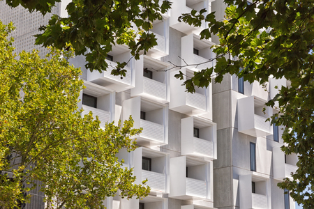 burrows: Melbourne, Australia - February 2015: Upper House apartments in Swanston Street, Carlton designed by Jackson Clements Burrows Architects with Podium and Cloud elements, completed August 2014. Editorial