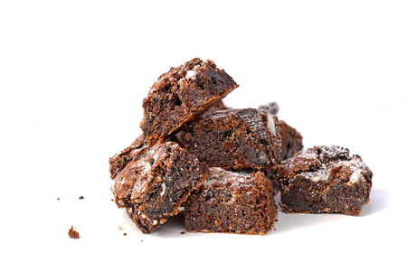 Delicious Freshly baked homemade cookies and cream brownie pieces on a isolated on white blackground