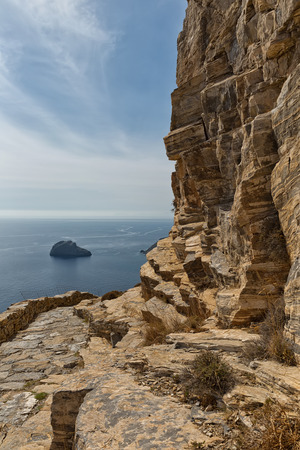 Beautiful seascape view of the sea and rocky shore, the Aegean Sea, Amorgos Island, Greece Stock Photo